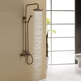 Antique Brass Shower Tap with 8 inch Shower Head + Hand Shower