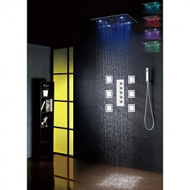 Bathroom Bath Shower Tap Set, 20 Inch 7 Colors 100V~240V AC LED Shower Head And 6 Pcs Big Spa Body Massage Spray