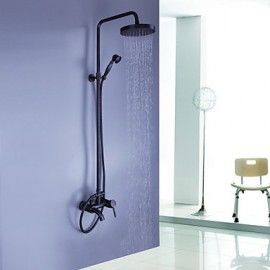 Oil-rubbed Bronze Wall Mounted Waterfall Rain + Handheld Shower Tap