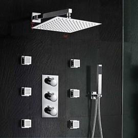 10 Inch Chrome Three Handles Rainfall Shower Tap Thermostatic Mixer Shower Massage Jet