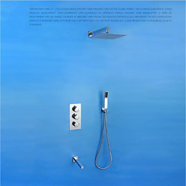 10'' High Quality Brass Thermostatic Mixing Valve Wall Mounted Three Functoins Shower Set Tap