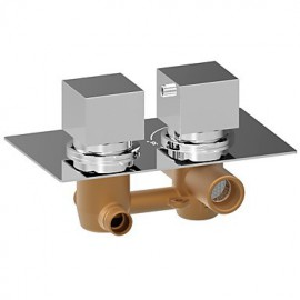 Chrome Square Dual Handle Thermostatic Rainfall Shower Mixer Valve