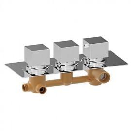 Chrome Square Triple Handle Thermostatic Rainfall Shower Mixer Valve