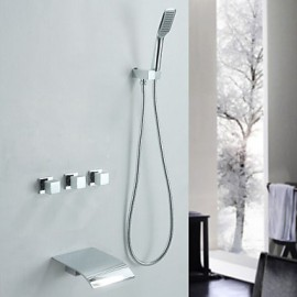 Shower Tap / Bathtub Tap - Contemporary - Waterfall / Handshower Included - Brass (Chrome)