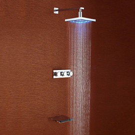 Shower Tap Contemporary LED / Waterfall / Rain Shower Brass Chrome