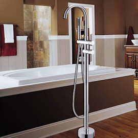 Bathtub Tap / Shower Tap - Contemporary - Floor Standing / Handshower Included - Brass (Chrome)