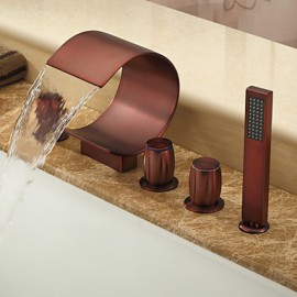 Oil-rubbed Bronze Waterfall Widespread Bathtub Tap with Hand Shower (Curved Shape Design)