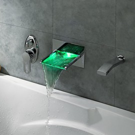 LED Waterfall Tub Tap with Pull-out Hand Shower (Wall Mount)