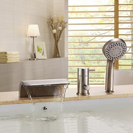 Contemporary Nickel Brushed Three Holes Single Handle Waterfall Bathtub Tap with Hand Shower