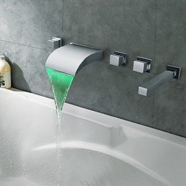 Bathtub Tap - Contemporary - LED / Waterfall - Brass (Chrome)