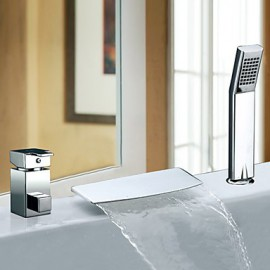 Bathtub Tap - Contemporary - Waterfall / Sidespray / Handshower Included - Stainless Steel (Chrome)