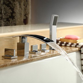 Bathtub Tap - Contemporary - Waterfall / Handshower Included - Brass (Chrome)