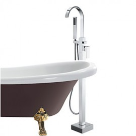 Bathtub Tap - Contemporary - Handshower Included / Floor Standing - Brass (Chrome)