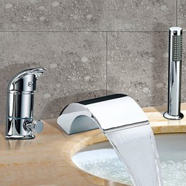 Bathtub Tap - Contemporary - Waterfall / Sidespray - Stainless Steel (Chrome)