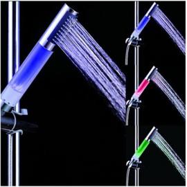 A Grade ABS Chrome Columnar Color Changing LED Hanldheld Shower head