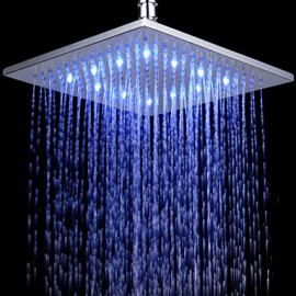 12 Inch Chromed Brass Square LED Rain Shower Head