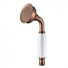 Contemporary Rose Gold Finish Brass Handled Shower Head