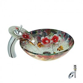 Flower Round Tempered glass Vessel Sink With Waterfall Tap, Mounting Ring and Water Drain