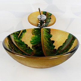 Colourful Round Tempered Glass Vessel Sink with Waterfall Tap ,Pop - Up Drain and Mounting Ring