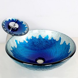Blue Round Tempered Glass Vessel Sink with Waterfall Tap ,Pop - Up Drain and Mounting Ring