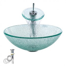 Transparent Tempered Glass Vessel Sink With Waterfall Tap ,Pop - Up drain and Mounting Ring
