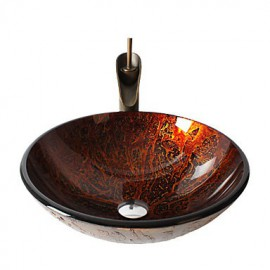 Retro Pattern Round Tempered Glass Vessel Sink with Retro Cup Tap ,Pop - Up Drain and Mounting Ring