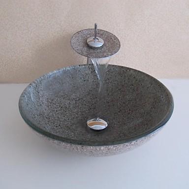 Bathroom Sink Set,Tempered glass Vessel Sink With ...