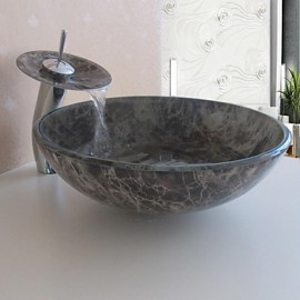 Bathroom Sink Set,Tempered glass Vessel Sink With Waterfall Tap,Mounting Ring and Water Drain