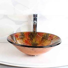 Round Cap Contemporary Bathroom Tempered Glass Sink Set