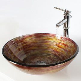 Multicolour Round Tempered Glass Vessel Sink with Bamboo Tap ,Pop - Up Drain and Mounting Ring