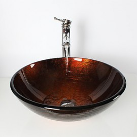 Bronze Round Tempered Glass Vessel Sink with Bamboo Tap ,Pop - Up Drain and Mounting Ring