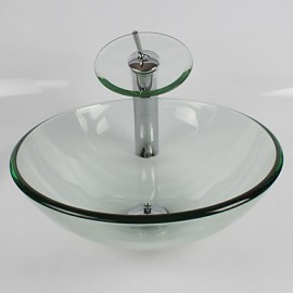Transparent Round Tempered Glass Vessel Sink with Waterfall Tap Pop - Up Drain and Mounting Ring