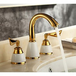 3 Pcs Golden Color Tap 2 Handle Waterfall Tap Bathroom Basin Sink Bathtub Mixer Faucet