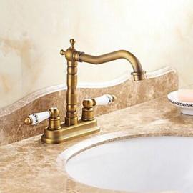 Antique 4 Inch Centerset Two Handles Chrome Bathroom Sink Faucet
