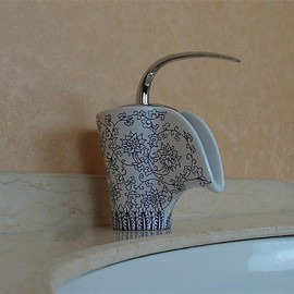 Antique Blue And White Porcelain Waterfall One Hole Single