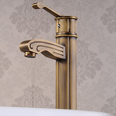 Antique brass finish single handle centerset wood like - Antique brass bathroom faucet centerset ...