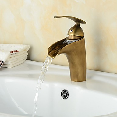 Antique Style Chrome Plating And Gold Plating Single Handle One Hole Hot  And Cold Water Bathroom ...