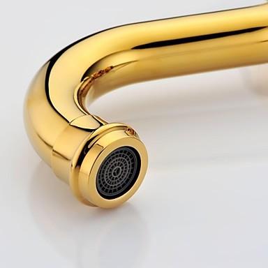 Antique Ti Pvd Finish Brass Three Hole Two Handle Bathroom