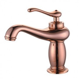 Contemporary Rose Gold Brass One Hole Single Handle Bathroom Sink Faucet