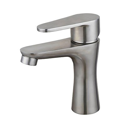 Contemporary Stainless Steel Brass One Hole Single Handle Bathroom Sink Faucet Faucet Shop