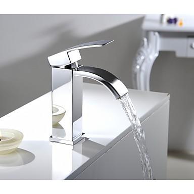 Single Handle Waterfall Bathroom Vanity Sink Vessel Faucet