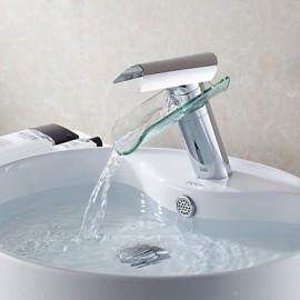 Bathroom Sink Tap in Glacier Bay Design Glass Spout Waterfall Tap