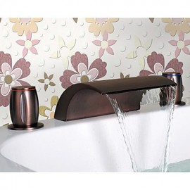 Oil Rubbed Bronze Waterfall Bathroom Sink Tap