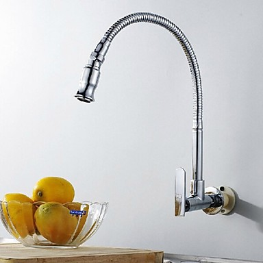 Wall Type Arbitrary Rotating Chrome Plated Brass Kitchen Sink Tap ...