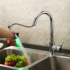 Contemporary Kitchen Tap LED / Pullout Spray Chrome One Hole