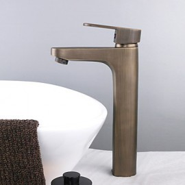 Vessel Single Handle One Hole in Antique Brass Bathroom Sink Tap