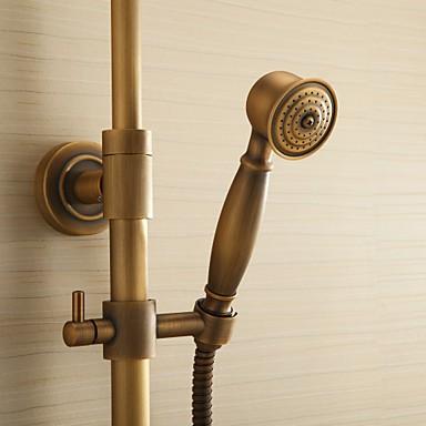Antique Brass Shower Tap With 8 Inch Shower Head Hand