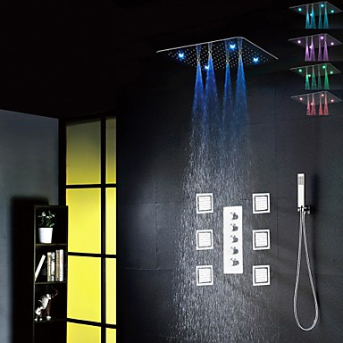 Bathroom Bath Shower Tap Set, 20 Inch 7 Colors 100V~240V AC LED Shower Head And 6 Pcs Big Spa Body Massage Spray