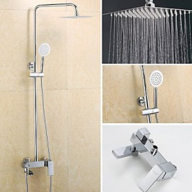 Square Thin Pressurize Shower Chrome Finished 8 Inch In Wall Shower Set with Shower Head and Hand Shower
