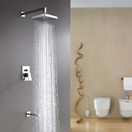 Shower Tap Wall Mount with Chrome Single Handle Three Holes